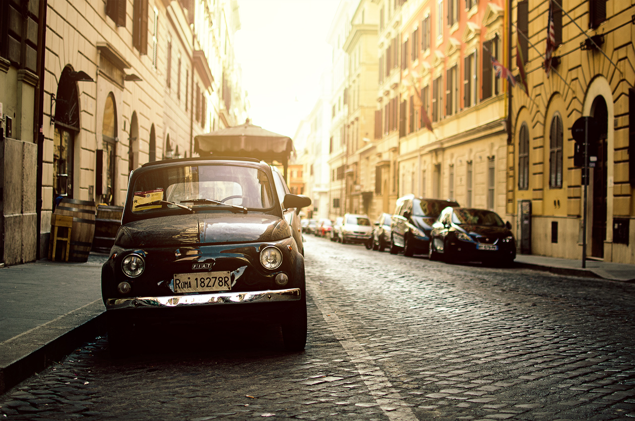 Rome old fiat and sun