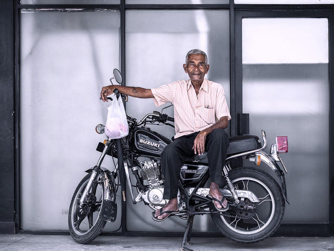 Sri Lanka Man Portrait Motorbike
