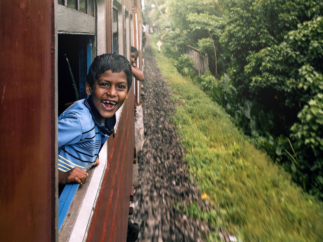Sri Lanka Train Boy Portrait