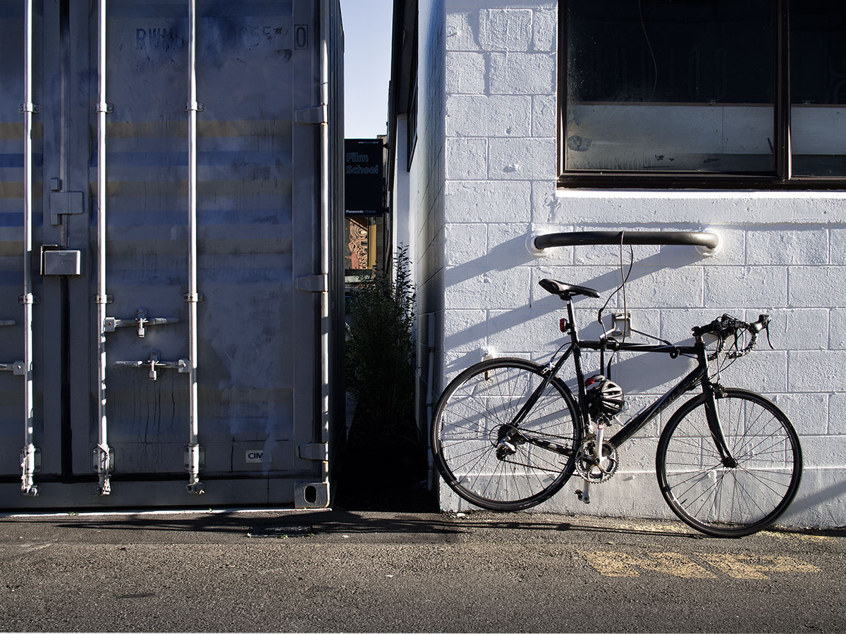 Wellington port container with a bicycle
